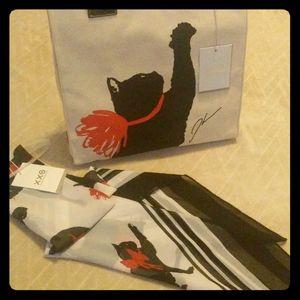Milu Cat Print Tote Handbag & Scarf